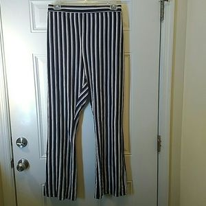Blue and white Ponte Knit bootcut pull on pants